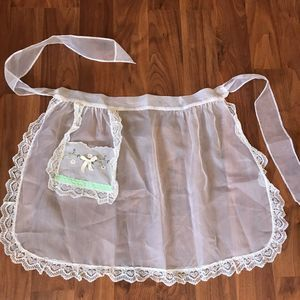 Vintage Sheer Lace Apron W/ Embroidery